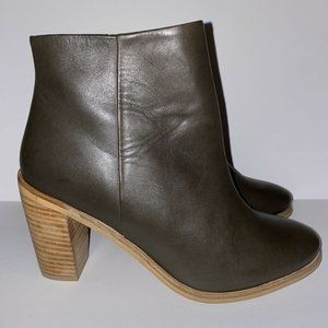 Dune London Ankle Boots Pema Brown Stacked Heel 7
